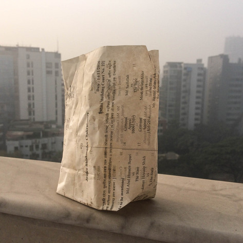 2. The story of the samosa packet movement starts in February 2018:  I bought some samosa ('shingara' in Bangla) on the streets of Dhaka, Bangladesh.  The packet intrigued me. It was made from waste print outs of court lists; cases between citizens and the state.