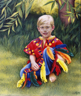 Oil on canvas of a boy in his Red Indian outfit