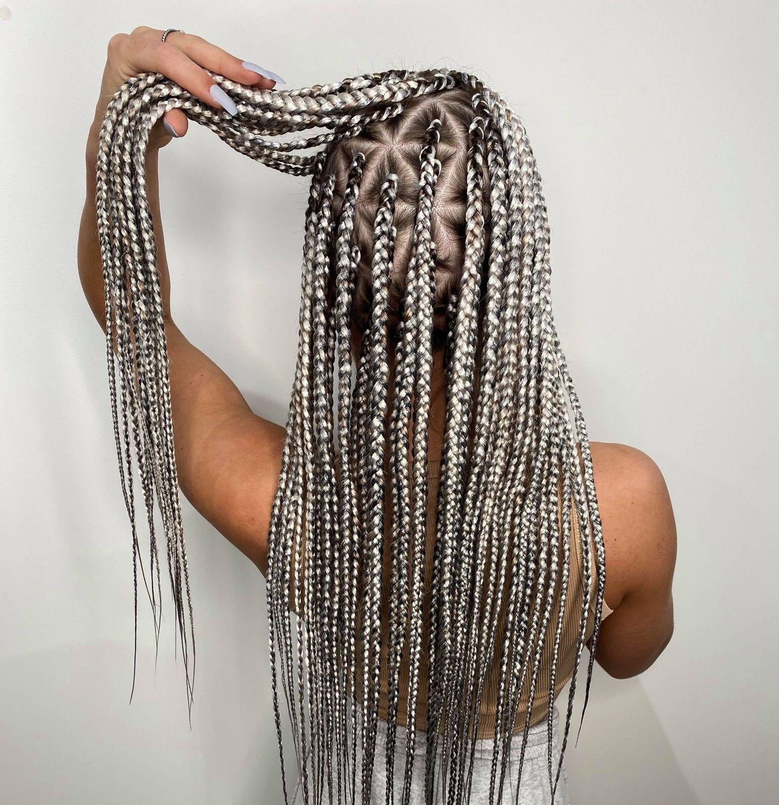 Waist length medium sized box braids