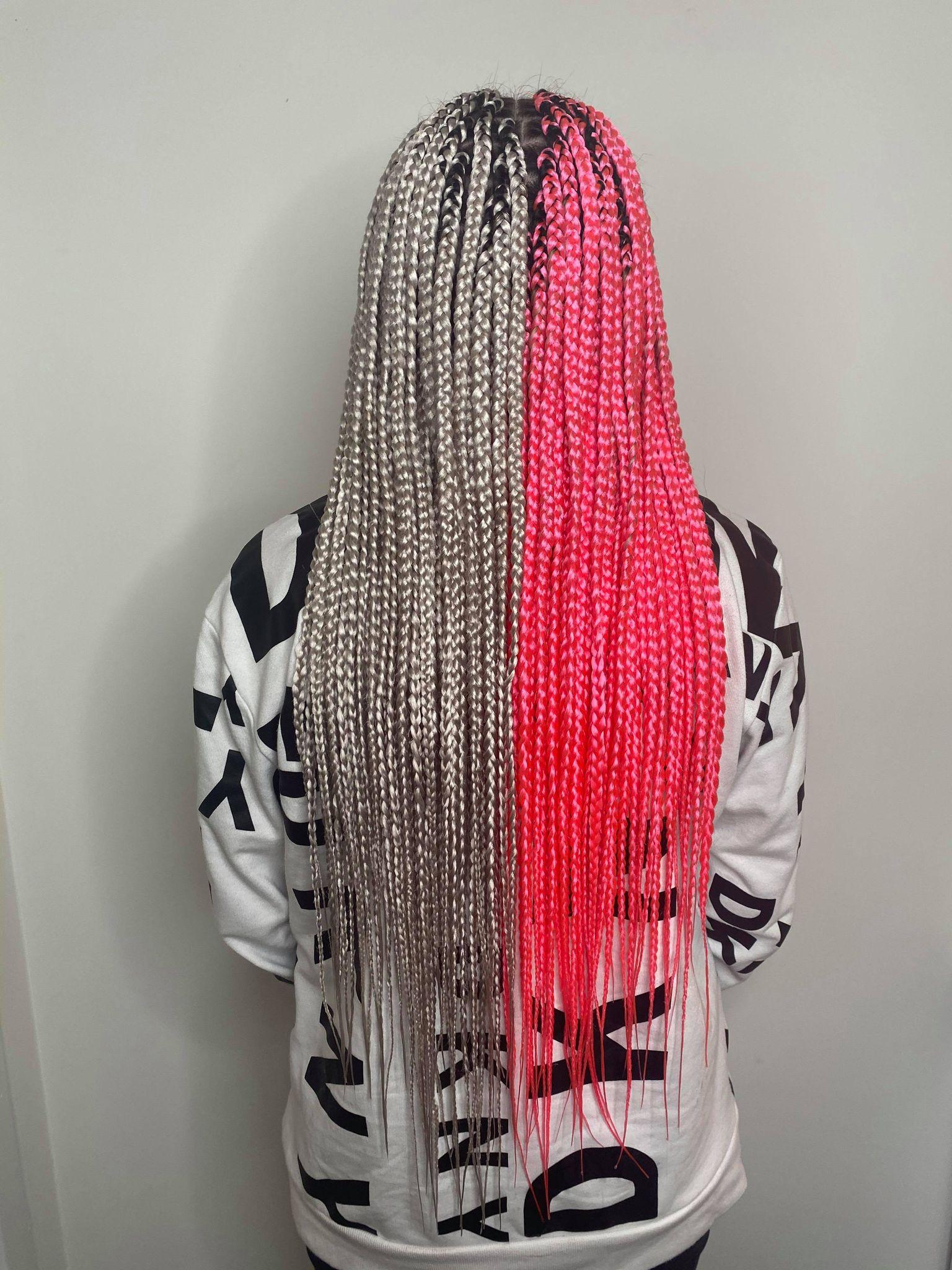 Waist length small sized box braids