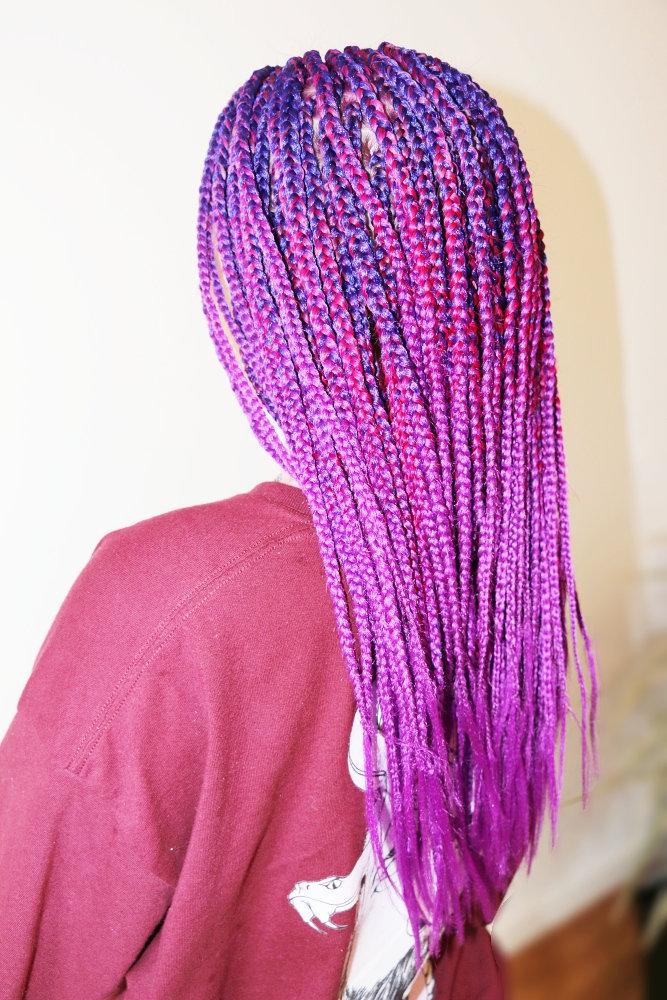 To mid of back medium sized box braids
