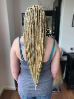 Half cornrows/half box braids