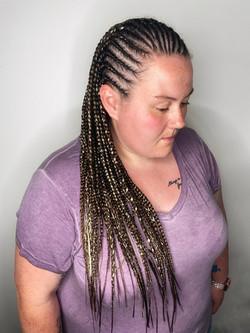 Small sized half cornrows/half box braids