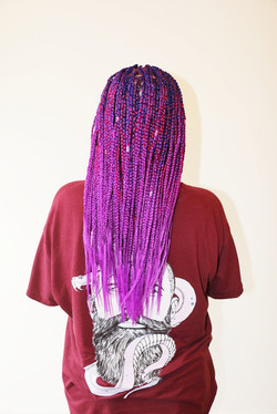 Small mid to back box braids