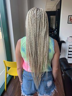 Small size waist length box braids