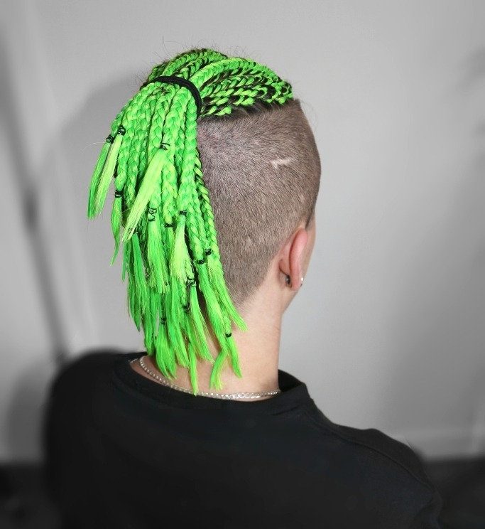 Small top braids with shaved sides