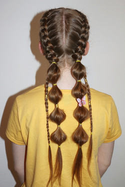 Dutch braids into Bubble braids