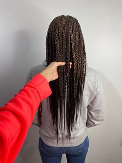 Medium size waist length box braids