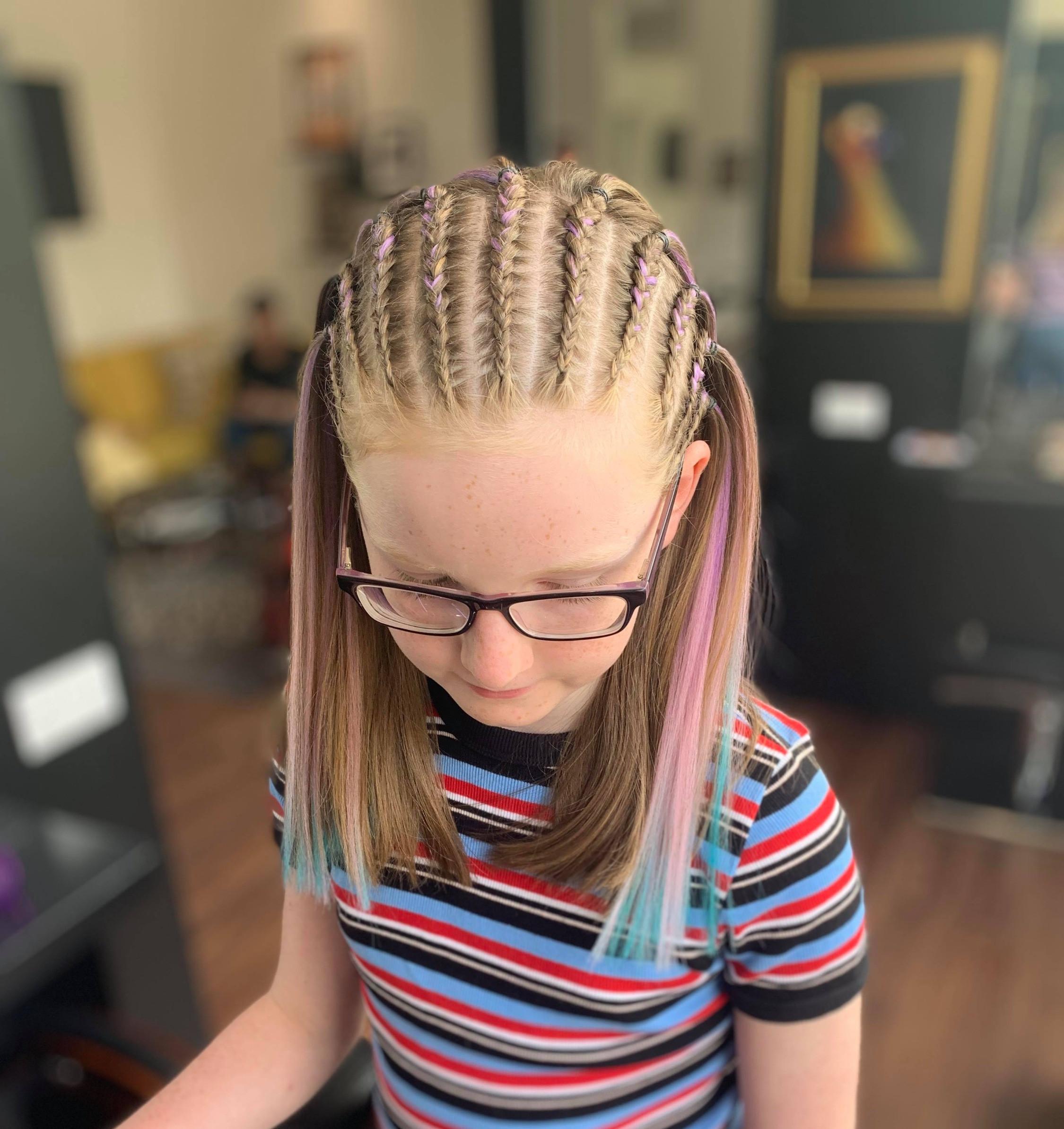 Half head cornrows (10-12 braids)