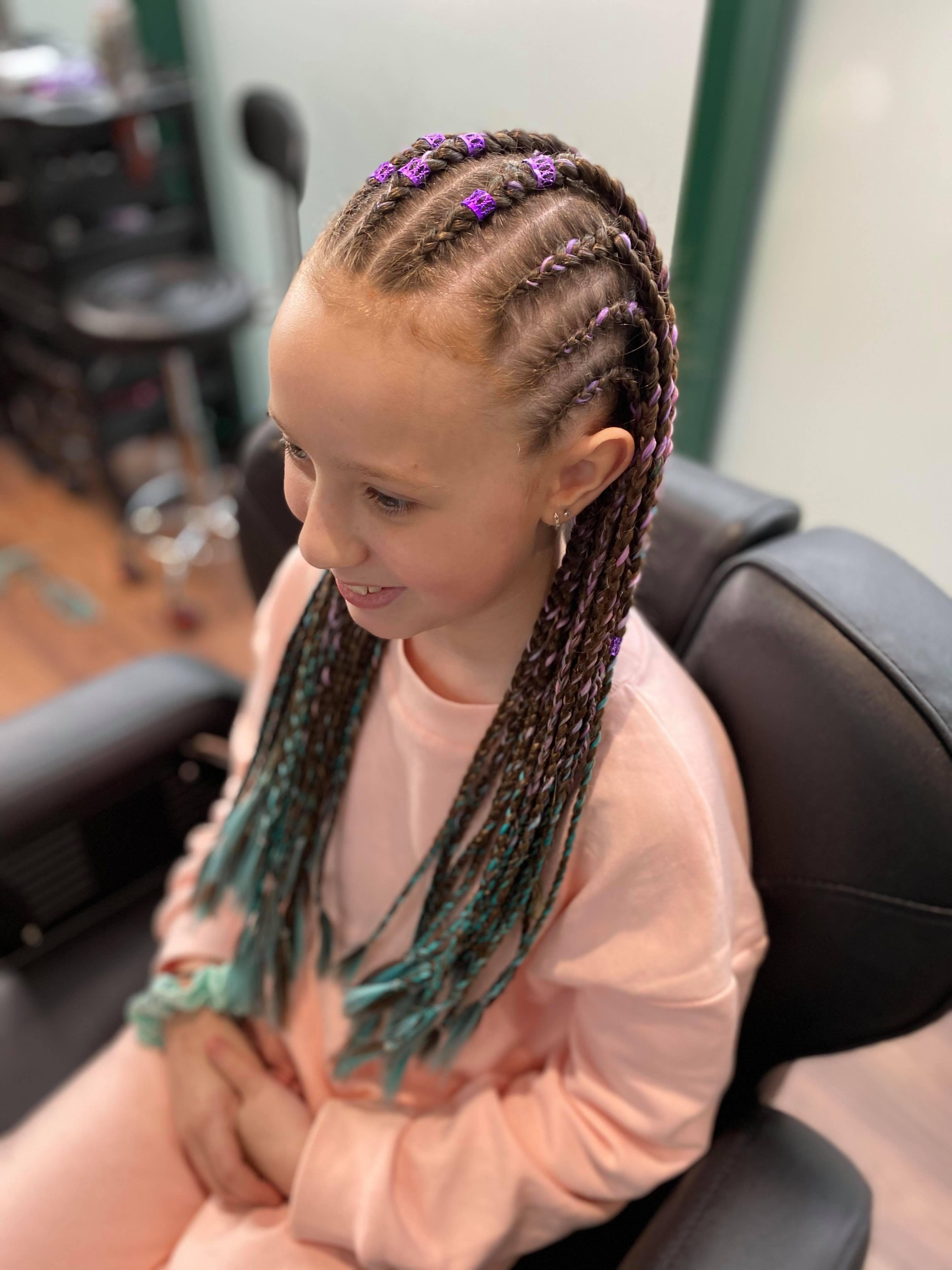 Med sized half cornrows/half box braids
