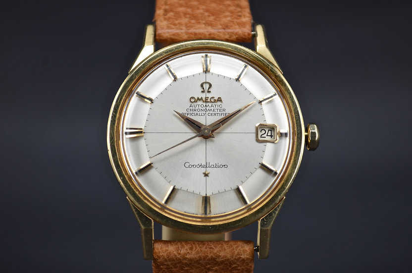 Circa 1962 Omega Constellation Grand Lux Pie Pan 168.005/6 14k Yellow Gold
