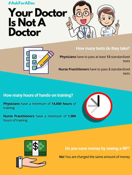 Your doctor is not a doctor - difference in training between physician and nurse practitioner