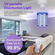 110 Volt UVC sanitizing and germicdal light bulb with remote control for office, school, home