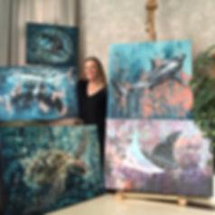 emma skinne showcasing under water art at an exhibition in dubai