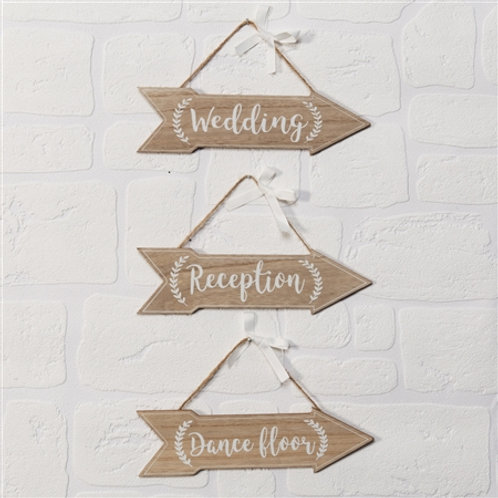 Wedding Arrow Plaques - Set of 3