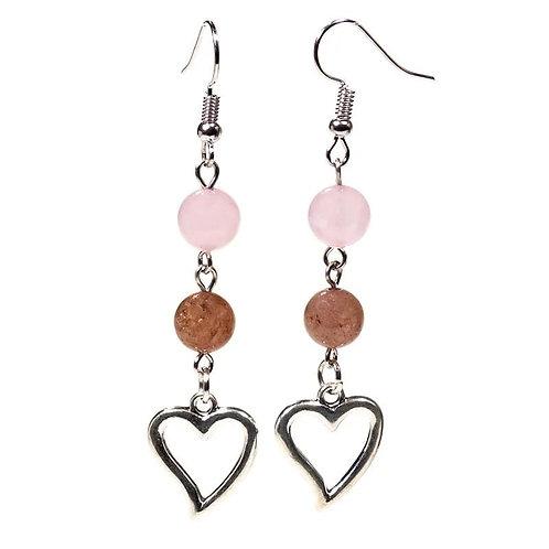 Strawberry Quartz & Rose Quartz Beaded Earrings
