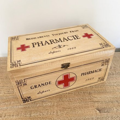 Vintage Style natural wooden pharmaceutical box