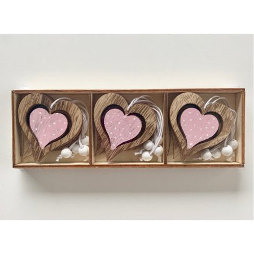 Wooden Hanging Heart Decorations