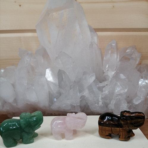 Hand Carved Crystal Elephants