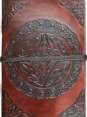 """Mini Leather Journal - Leather cord to wrap around Celtic 3 x 4"""""""
