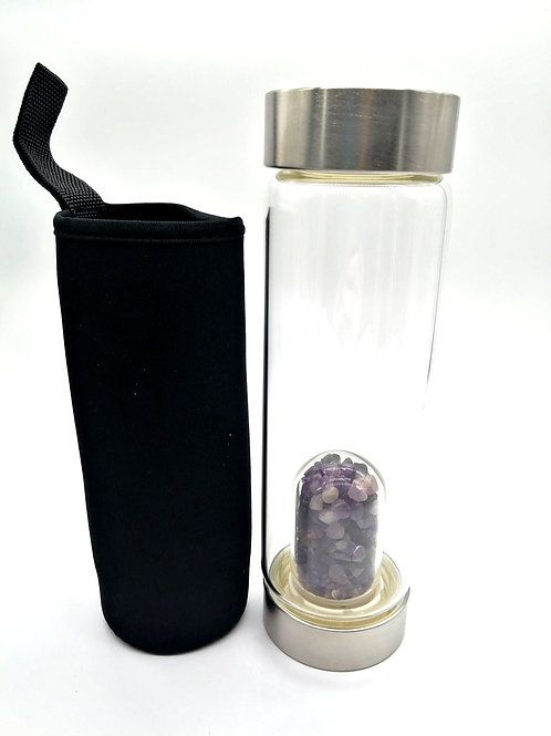 Water Bottle - Crystal Amethyst Chips (changable)