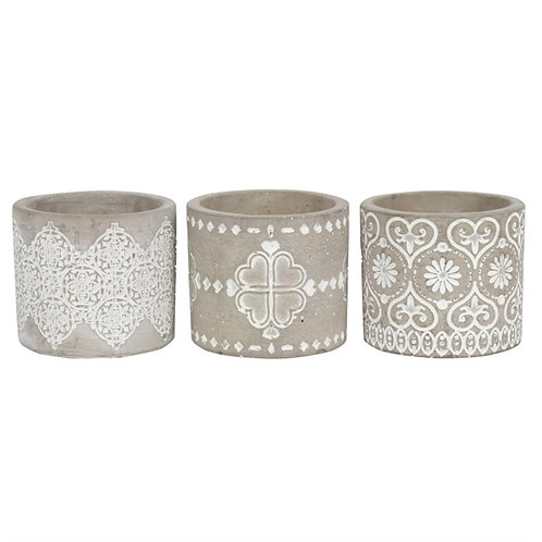 Grey Patterned Candle Holders - set of 3