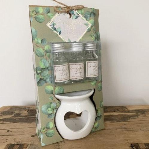 Eucalyptus Leaf Ceramic oil burner set