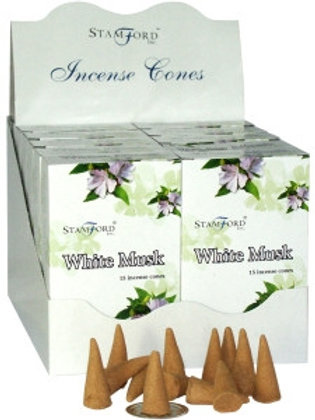 White Musk Incense Cones - pack 15