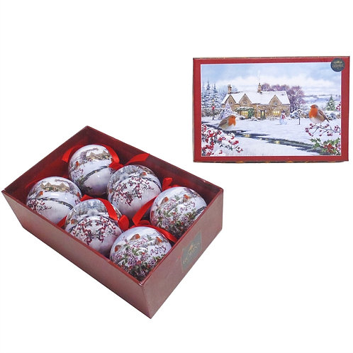 Christmas Robins Baubles Set