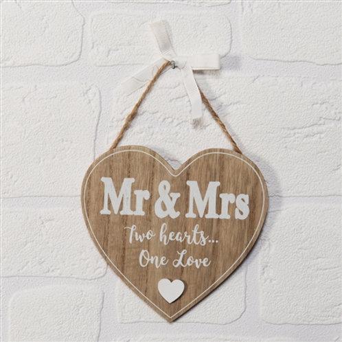 Mr & Mrs Heart Plaque