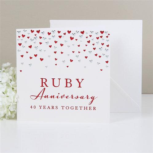 Ruby Anniversary Greetings Card