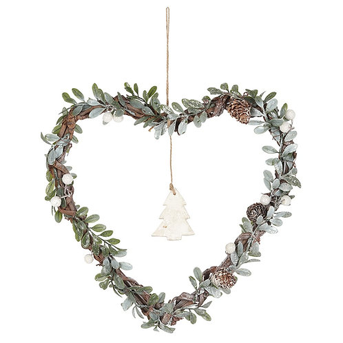 Heart Shaped Mistletoe Wreath - 32cm