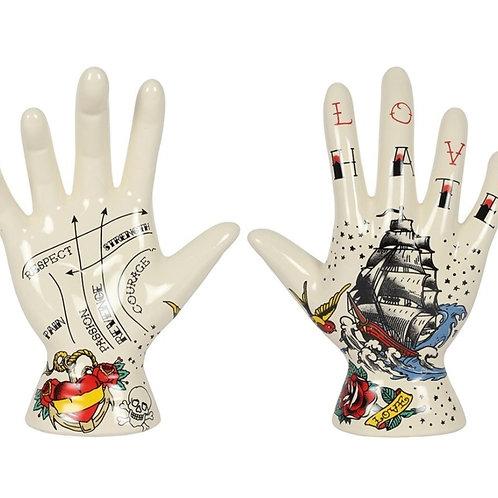 Palmistry Tattoo Hands Ornament - Set of 2