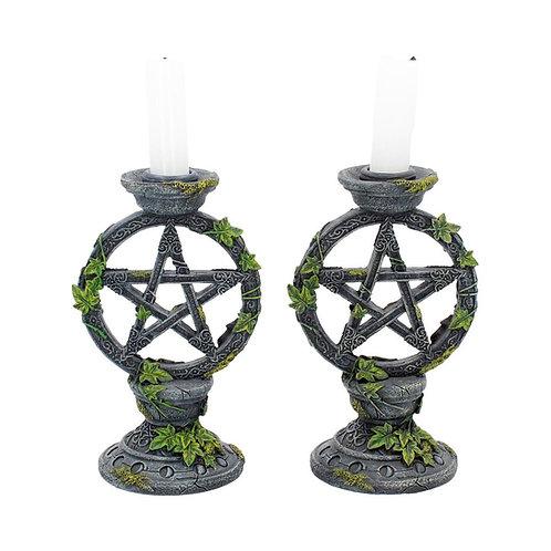 Wiccan Pentagram Candlestick Holders (Set of 2)
