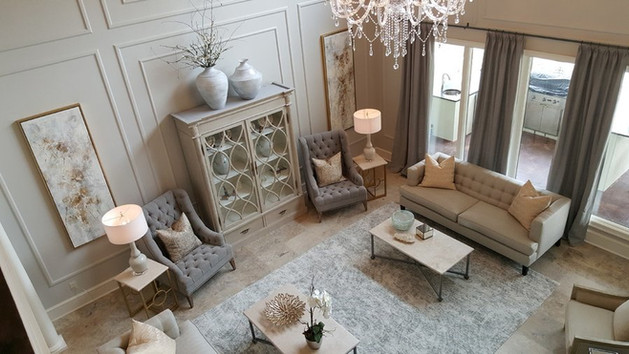 A pair of sofas balance this living room.