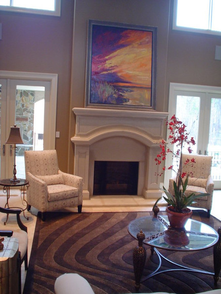 Original art by Sandy Hubler is the centerpiece for this sophisticated living room.