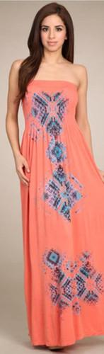 Strapless Seamless Sublimation Aztec Print Maxi Dress