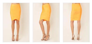 V Overlap Pencil Skirt - Acid Orange
