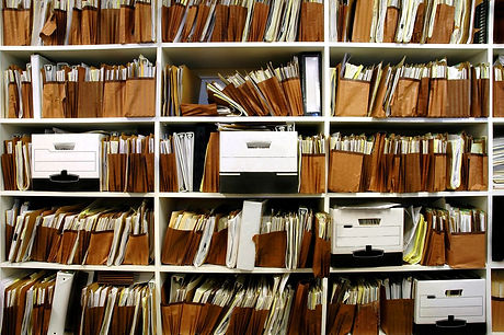 office douments on shelf