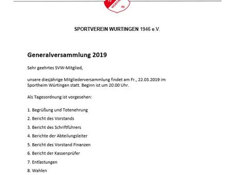 Einladung Generalversammlung 2019