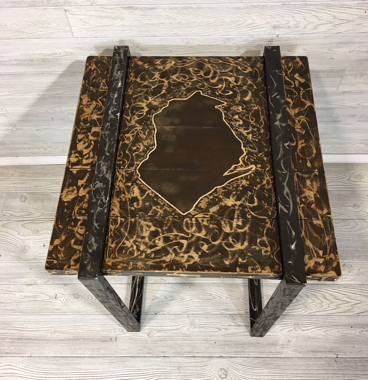 WI Steel and Wood End Table