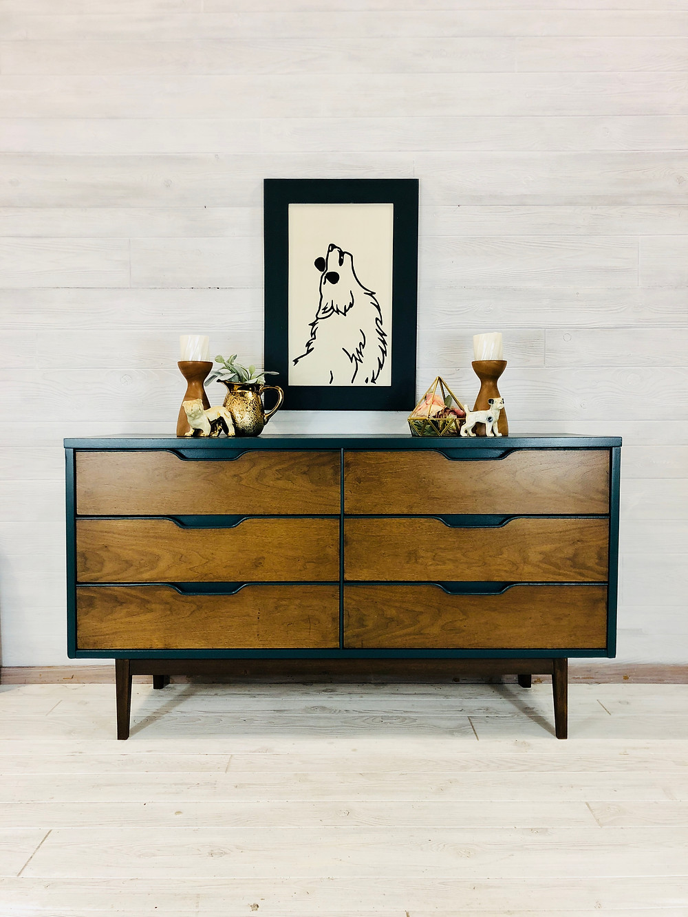 Teal and Wood MCM Dresser