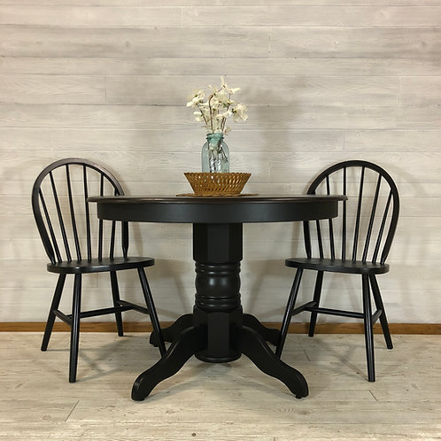 Lamp Black Table and 4 Chairs w/ Java Stained Top
