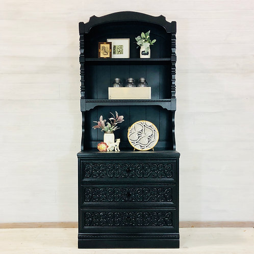 Lamp Black Two Piece Hutch