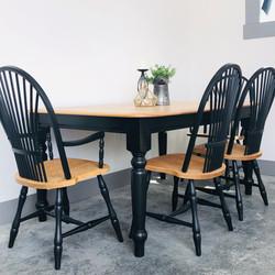 Lamp Black and Natural Wood Table