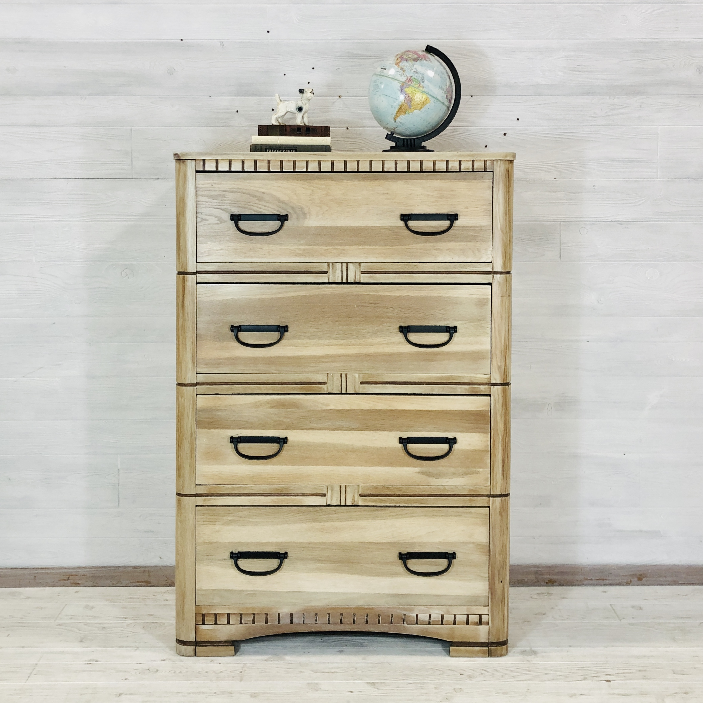 Raw Wood White Wash Tallboy