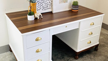 Alabaster White and Wood Top Desk