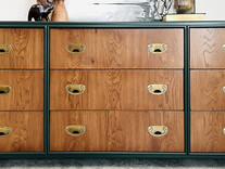 Dark Emeral Green with Wood Drawers
