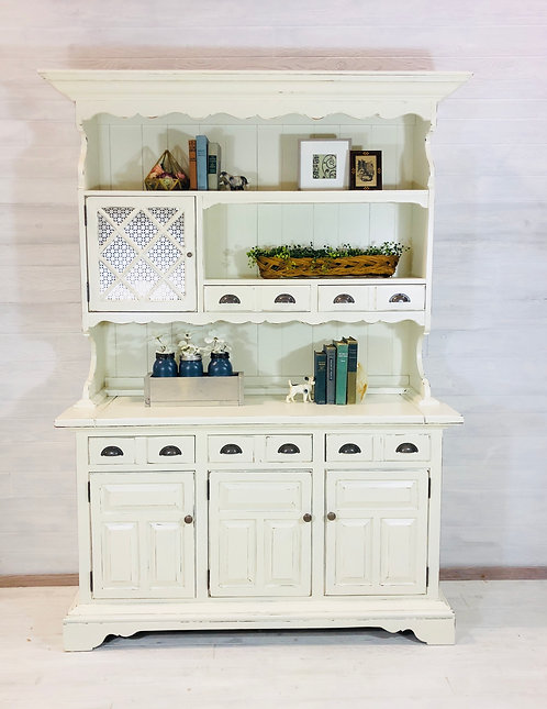 Antique White Two Piece Hutch