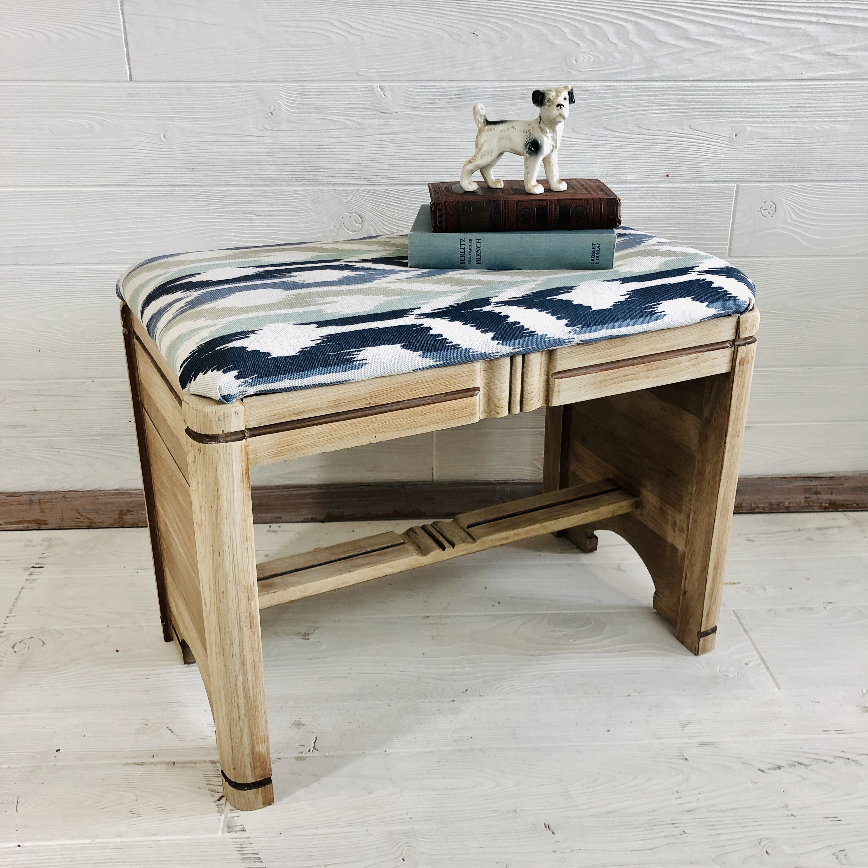 White Washed Wood Bench